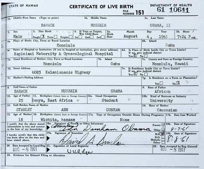 A detail of a copy of Pesident Barack Obama's birth certificate, provided by the White House.