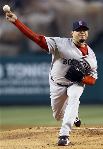 Boston Red Sox starting pitcher Josh Beckett allowed two runs on three hits in eight innings of work Thursday night against the Los Angeles Angels in Anaheim, Calif. The Red Sox won 4-2 in 11 innings.