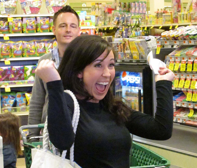 """An undated TV publicity image released by TLC shows Chrystie Corns experiencing an """"Extreme Couponing"""" moment. Corns, who is 33 and works as a social media consultant in Portland, will be among the 24 """"super couponers"""" the show will follow over 12 half-hour episodes. The series premieres tonight at 9. Corns' """"extreme couponing"""" methods were detailed in a profile in The Portland Press Herald in February."""