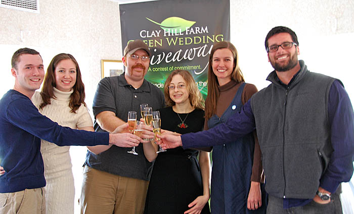 Green wedding runners-up, from left, are Jeffrey Court and Samantha Smith of Worcester, Mass., and Luke Fuller and Cassi Madison of Portland; and grand-prize winners Amy Watson and Douglas Figueiredo.