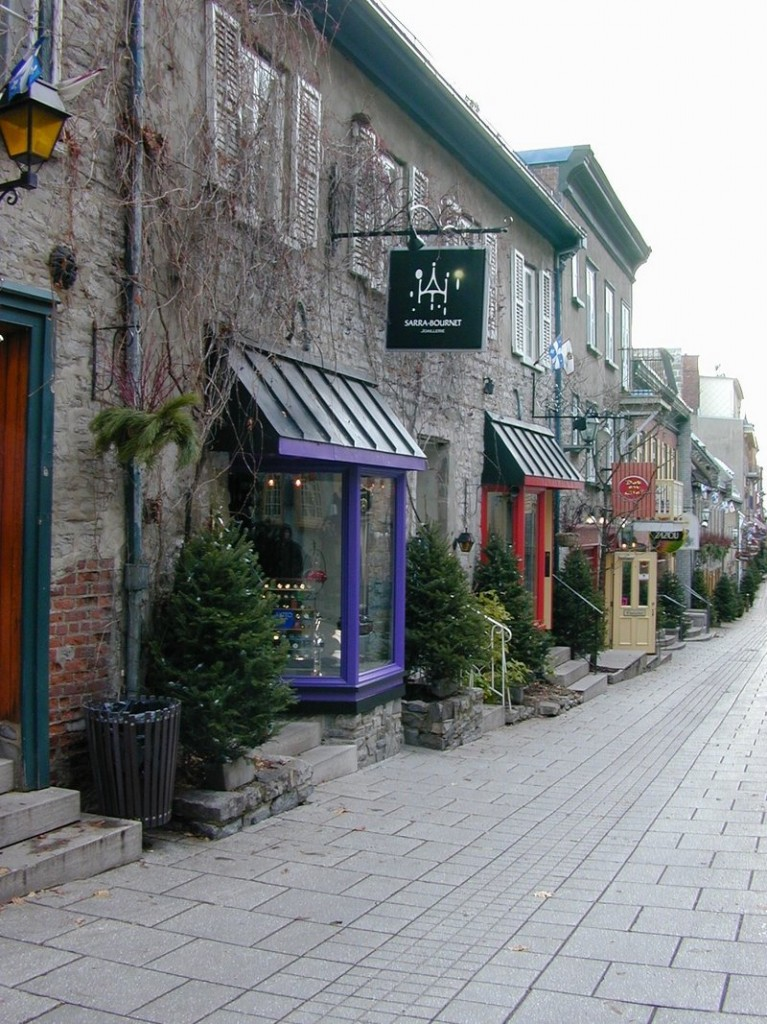 Quaint shops and restaurants line the pedestrian-only Rue Petit-Champlain in the Lower Town of Old Quebec.