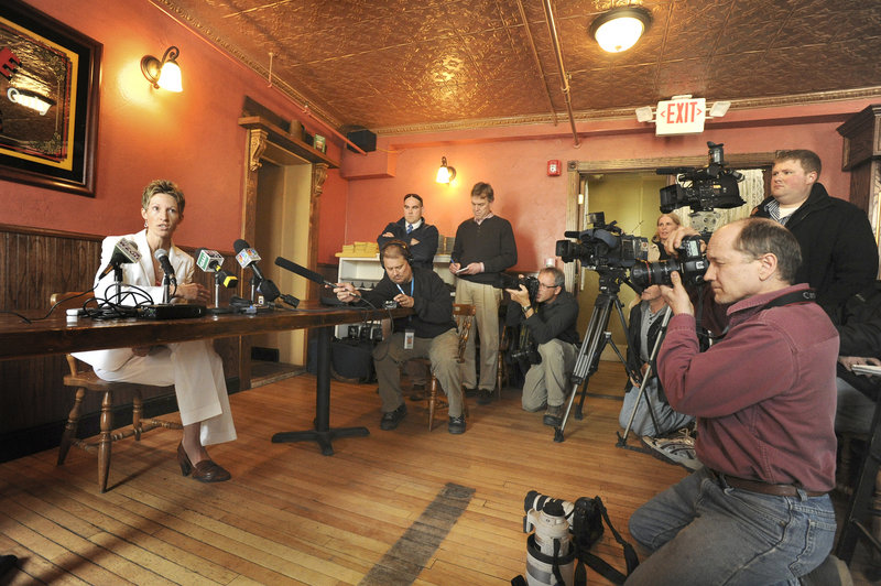Cindy Blodgett fields questions Thursday during a news conference at Paddy Murphy's Pub in Bangor about her firing as women's basketball coach at the University of Maine.