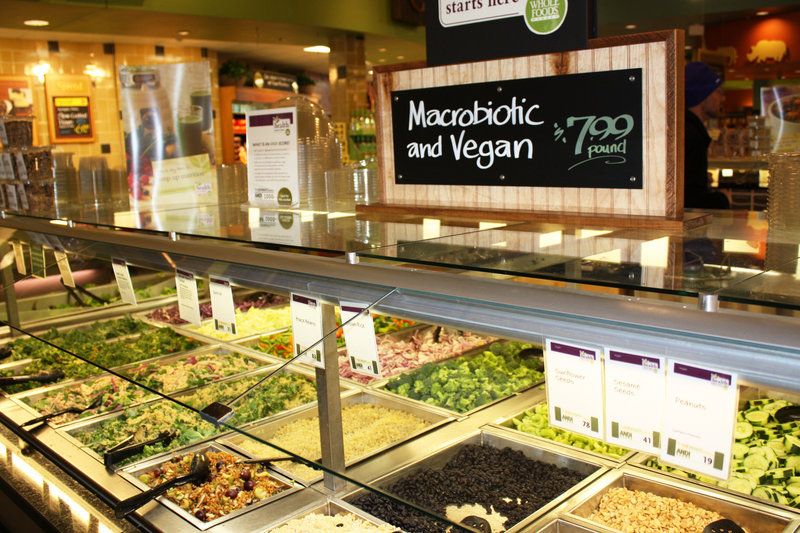 Responding to customer requests for plant-based foods, Whole Foods Market in Portland added this salad bar featuring vegan and macrobiotic dishes. Numerous eateries in Portland are puting vegan dishes on their menus as demand for this style of food grows.