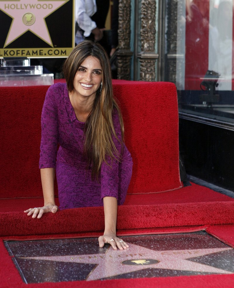 Penelope Cruz with her star on the Hollywood Walk of Fame.