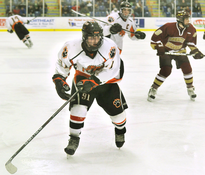 Though only a sophomore, Brady Fleurent was the leading scorer in Class A hockey this winter, producing 32 goals and 34 assists in 21 games.
