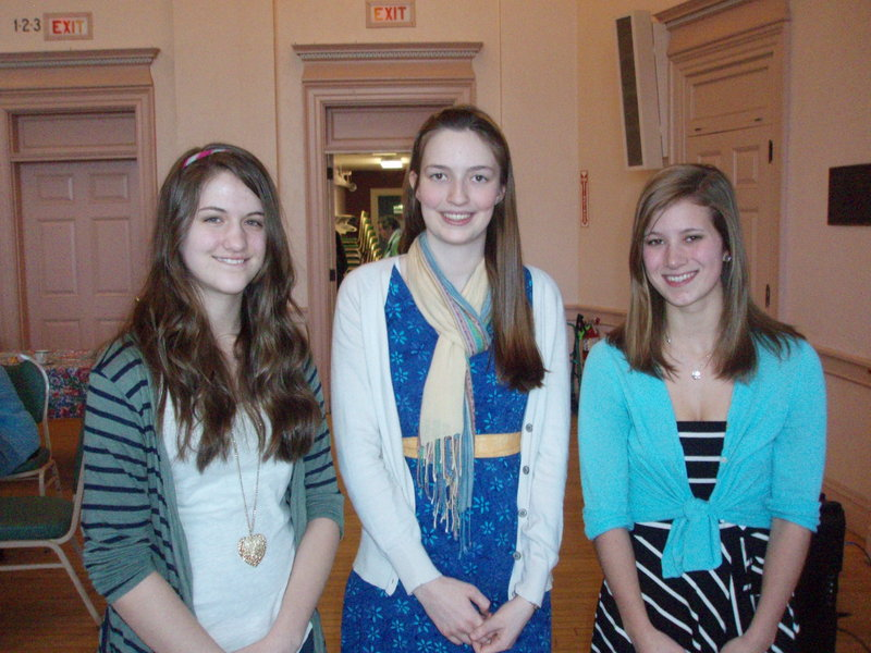 Woman's Literary Union essay contest winners are, from left, Brittany Biggs, first; Lena Champlin, second; and Megan Loiselle, third.