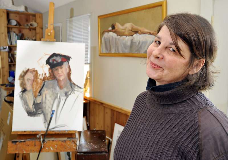 Judy Taylor, pictured in her Tremont studio, feels uncomfortable with the focus on her, but is pleased that so many people are talking about her work since her mural's removal from the Department of Labor building.