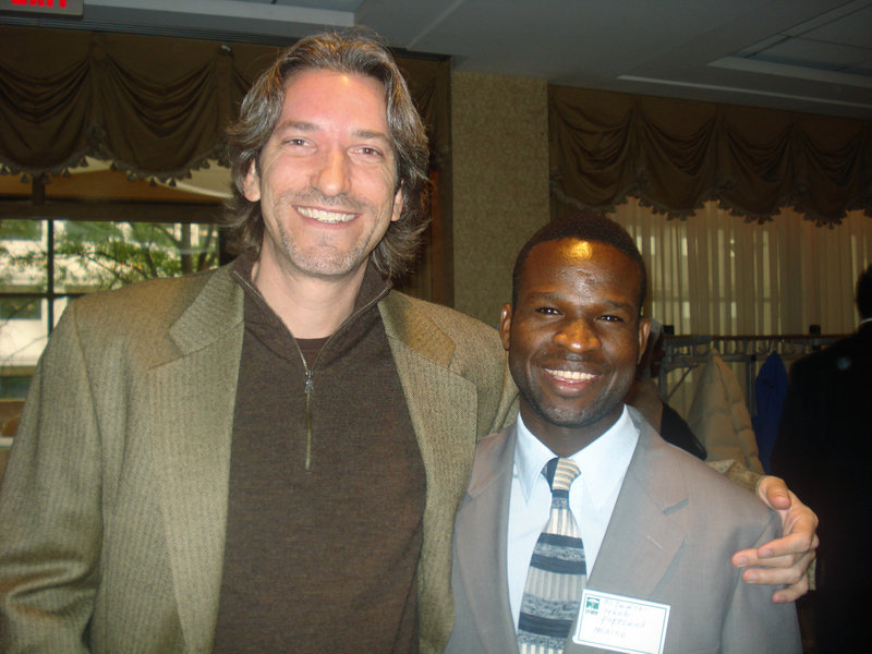 El-Fadel Arbab of Portland, right, is shown in a 2008 photo with John Prendergast, an internationally known co-founder of the Enough Project, who will speak at USM in Portland tonight. Arbab said Prendergast inspired him to tell his story of escaping the genocide in Darfur.