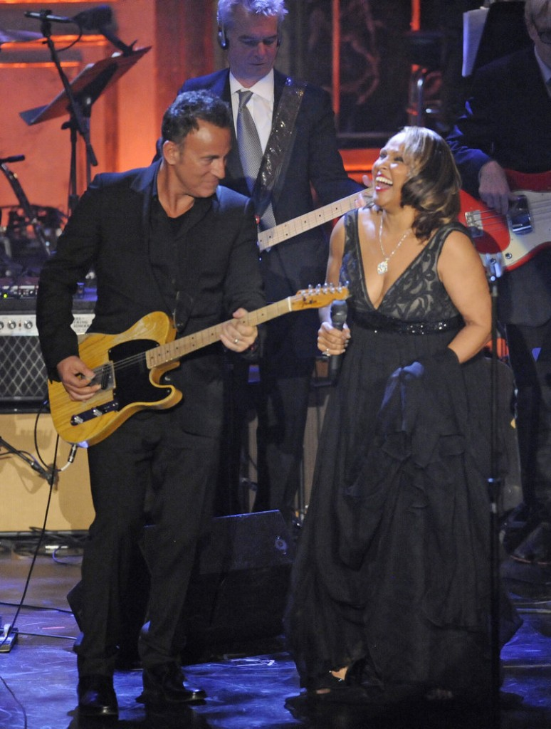 Inductee Darlene Love performs with Bruce Springsteen at the Rock and Roll Hall of Fame induction ceremony in March. Rutgers University students have begun a Facebook campaign to bring Springsteen to campus.