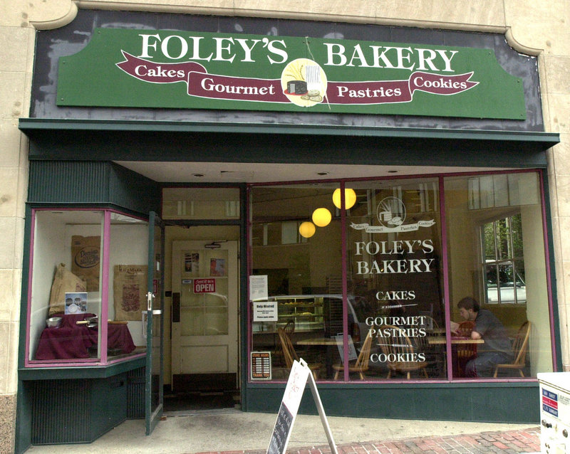 Foley's Bakery once stood next to First Parish Church on Congress Street. The new bakery will be just down the street, on Monument Square, and will offer cakes, pastries and coffee from the original owners, Ed and Molly Foley.