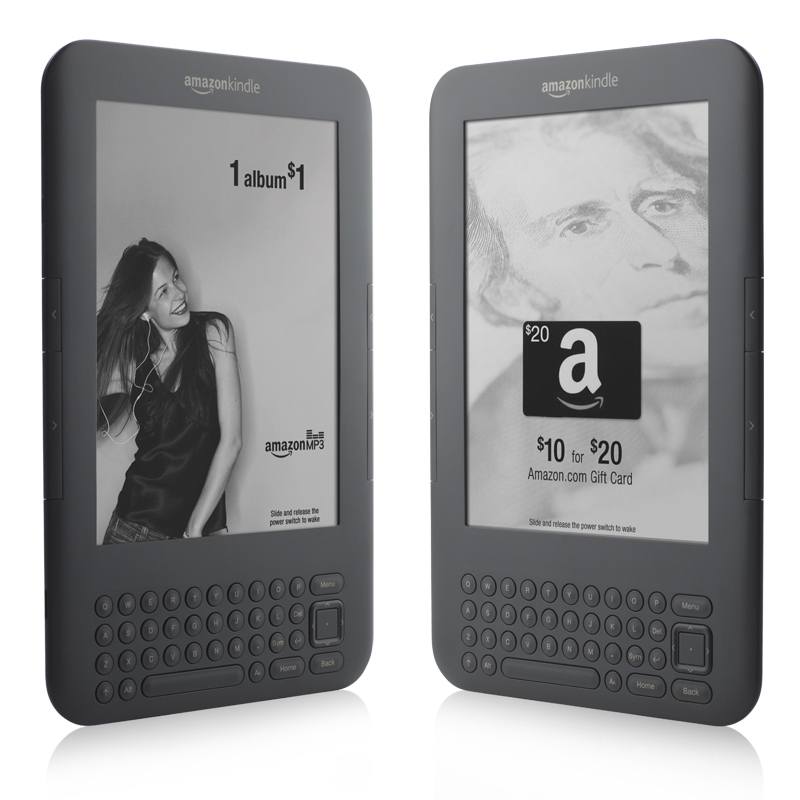 The $114 Kindle with Special Offers displays screen savers offering deals on Amazon products, above, as well as ads from brands including Buick and Olay.