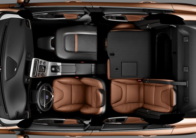 An overhead view of the Volvo S60 sedan shows how the seats fold down to allow hauling long items.