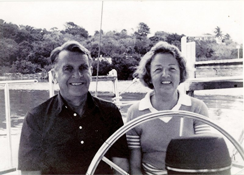 "Madelene and Robert Russ cruise along the Maine coast about 30 years ago. ""They were both Mainers who loved Maine and loved the ocean,"" their daughter-in-law said. He died in 2006."
