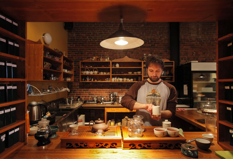 Kevin Marcello prepares two Ceylon teas from Sri Lanka at Dobra Tea in Portland.