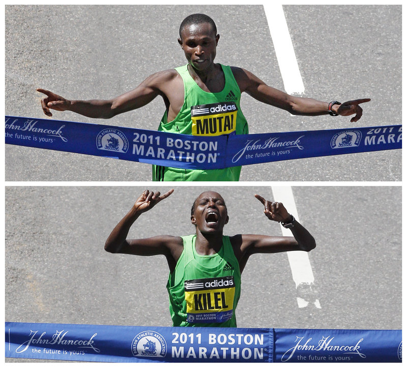 Top: Geoffrey Mutai of Kenya crosses the finish line to win the fastest marathon ever run in the men's division at 2:03:02. Bottom: Caroline Kilel, also of Kenya, won the women's division in 2:22:36.