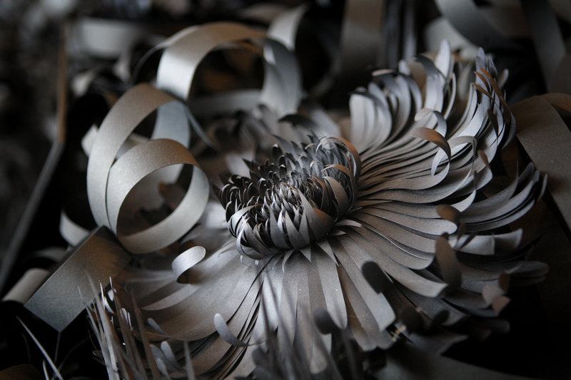 A paper flower, based on a waterlily, from Fensterstock's garden in the museum's sculpture gallery.