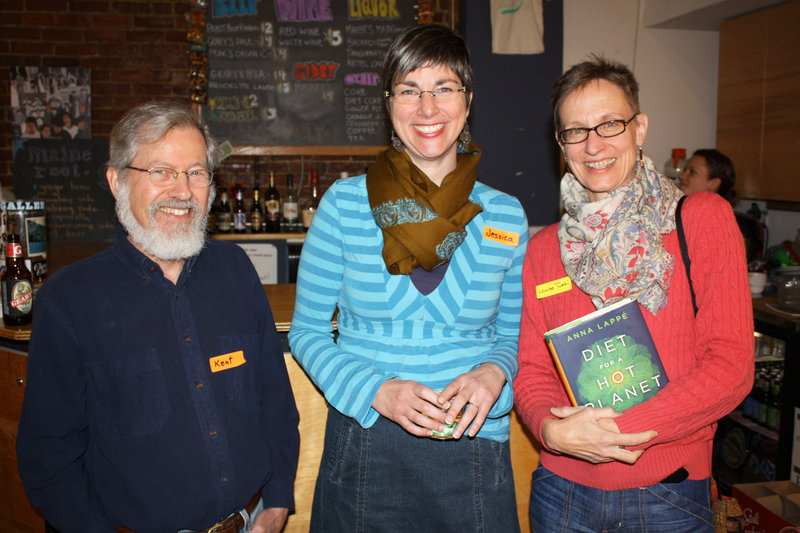 Space board members Kent Gordon and Jessica Tomlinson with Louise Tuski, who is holding Anna Lappe's lastest book.
