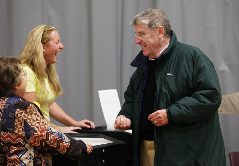 Eliot Cutler, who ran in 2010 as an independent candidate for governor, casts his vote in Cape Elizabeth on Nov. 2.