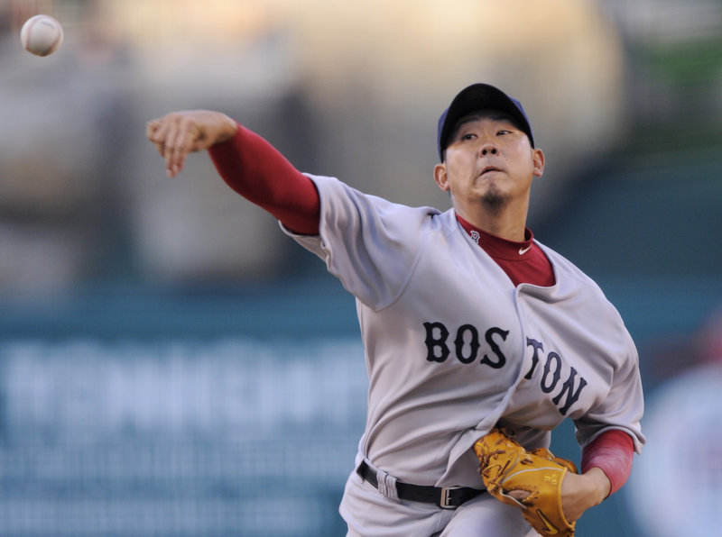 Daisuke Matsuzaka has had trouble in his career against the Los Angeles Angels, but Saturday was his night. Matsuzaka allowed one hit in eight innings, striking out nine, to lead the Boston Red Sox to a 5-0 victory.