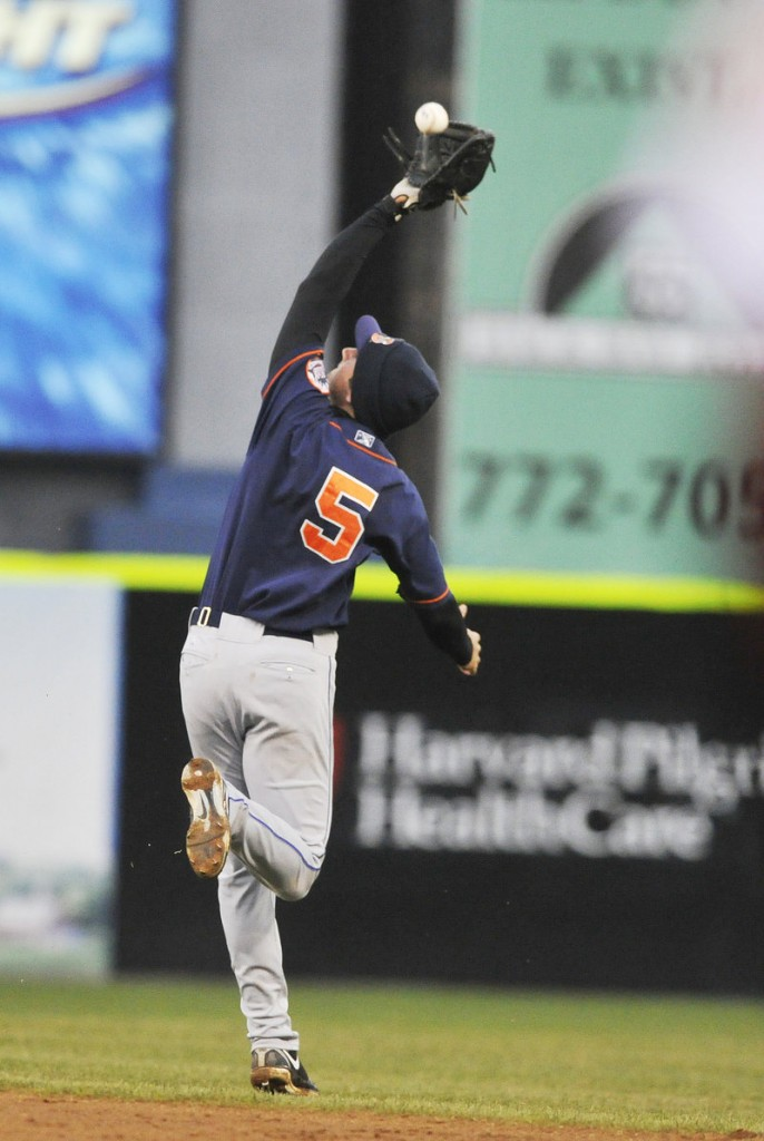 Binghamton second baseman Josh Satin makes an overhead catch in the second inning Monday, the opening game of a four-game series at Hadlock.