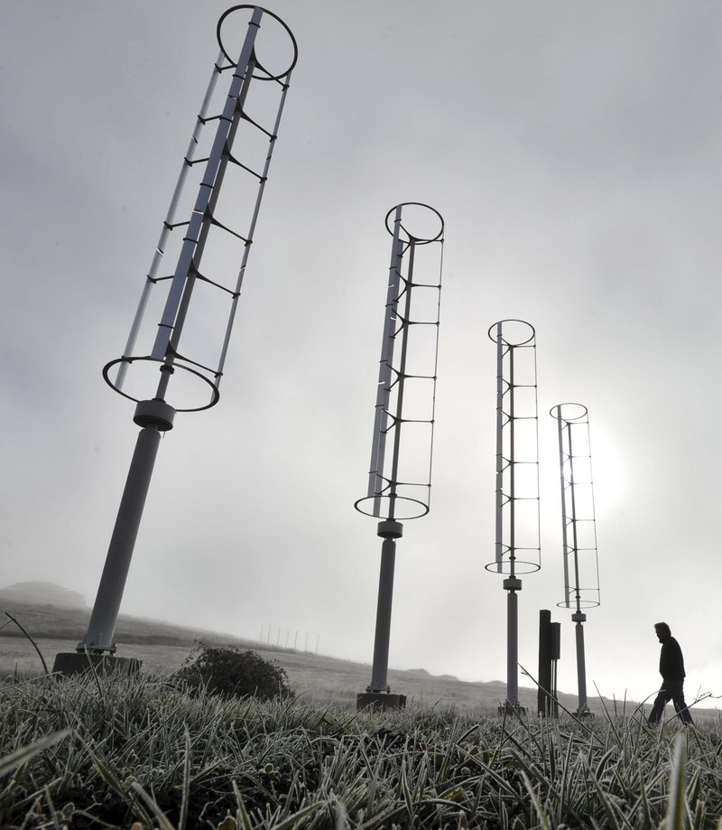 A Windspire vertical turbine, similar to ones shown hear near Ashland, Ore., will be installed next to DiMillo's Restaurant on the Portland waterfront this summer.