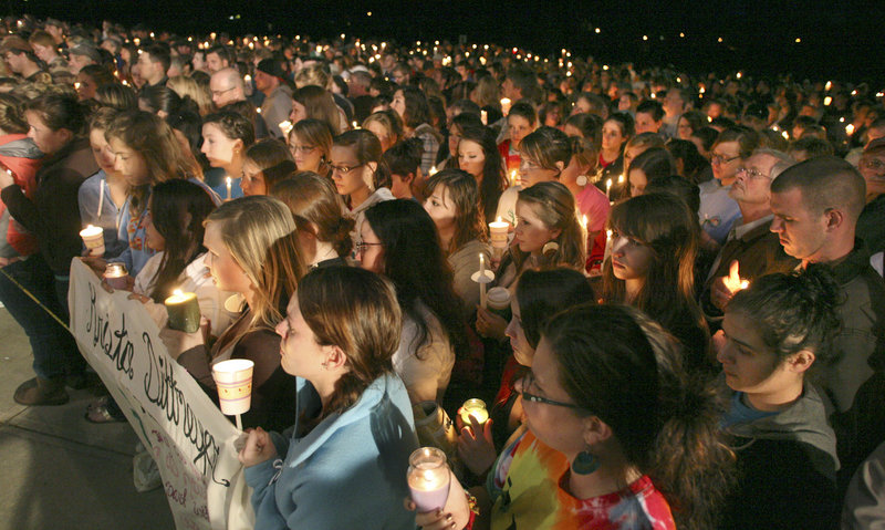 A candlelight vigil for Krista Dittmeyer drew more than 1,000 people to Stevens Brook Elementary School in Bridgton on Thursday night. The body of Dittmeyer, who had been last heard from Friday night, was recovered Wednesday from a pond in North Conway, N.H.