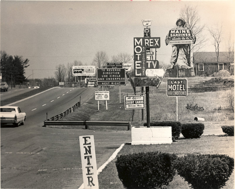 A photo taken in 1969 shows a road in Kittery lined with billboards and other signs. Readers don t want to let the big off-premise ones back.