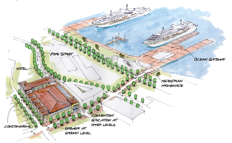 Artist's renderings show two views of a potential convention center located on property owned by Shipyard Brewing.
