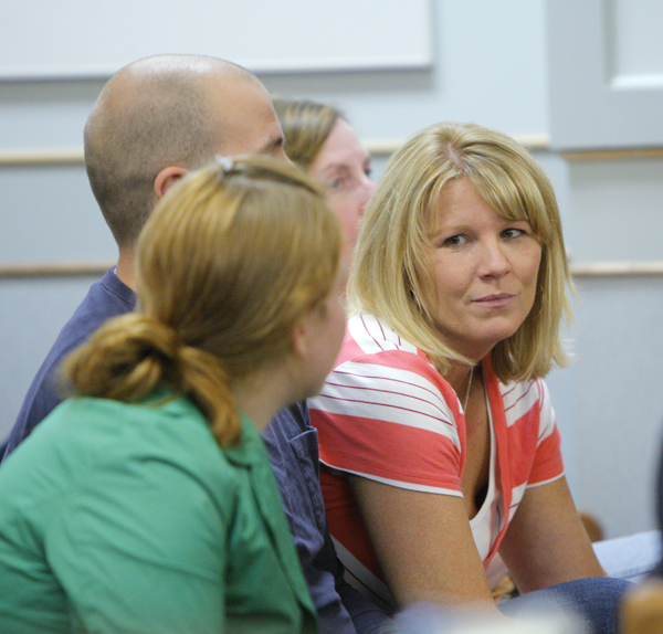 Lanell Shackley, Krista Dittmeyer's mother, talks with friends in Ossipee District Court in Ossipee, N.H., during the arraignment of Anthony Papile, 28, Michael Petelis, 28, and Trevor Ferguson, 23, in connection with the death of Krista Dittmeyer.