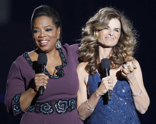 Maria Shriver appears with Oprah Winfrey during a star-studded double-taping of