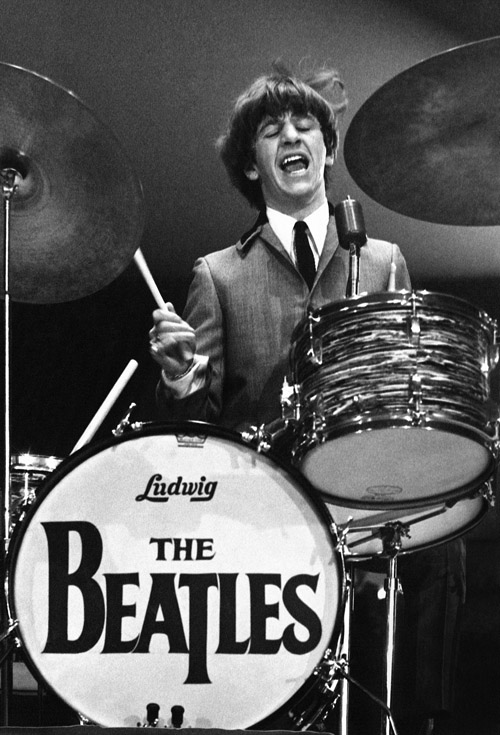 Ringo Starr performs with The Beatles on Feb. 11, 1964.