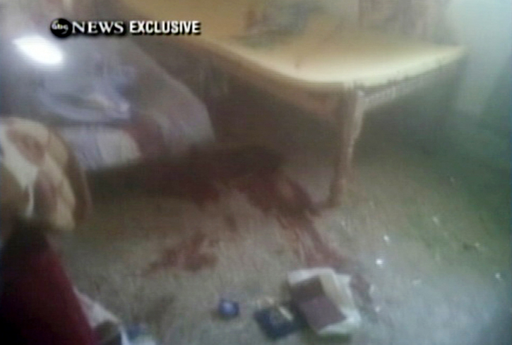 This frame grab from video obtained by ABC News shows a section of a room in the interior of the Abbottabad compound where it is believed Osama bin Laden was killed.