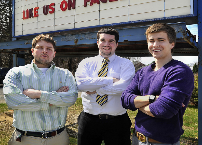 University of Southern Maine juniors Ry Russell of Scarborough, left, Tyler Wells of Holden, Mass., and Patric Brophy of Farmington will be running Saco Drive-In for the summer as part of a project for school credit. They will open Memorial Day weekend.