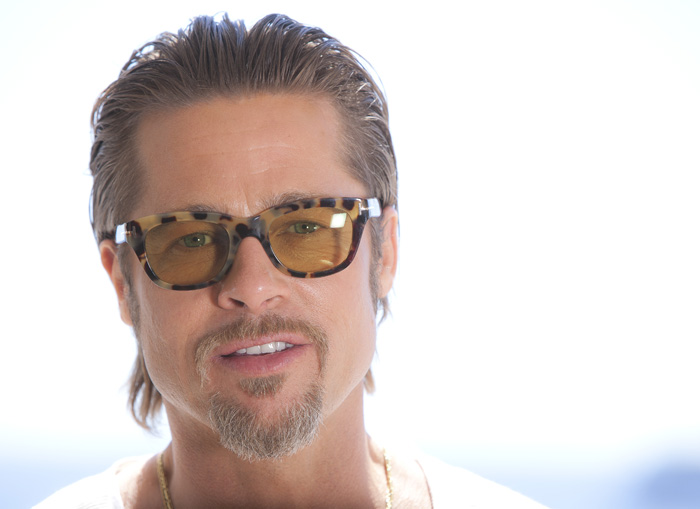 Actor Brad Pitt poses for portraits after an interview promoting the film