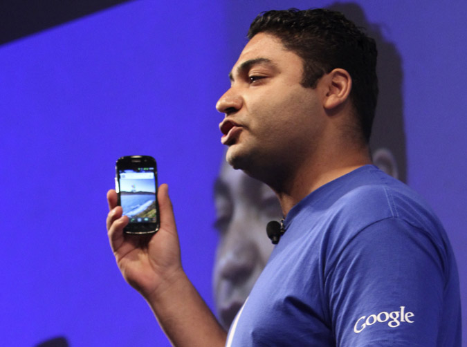 Google's Osama Bedier demonstrates how Google Wallet will work during a news conference on Thursday in New York. Bedier left PayPal to become Google's vice president of payments only four months ago.