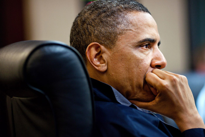 In this image released by the White House, President Barack Obama listens during one in a series of meetings discussing the mission against Osama bin Laden, in the Situation Room of the White House on Sunday.