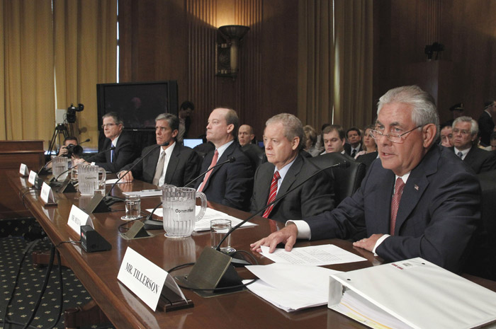 Oil company executives, from left, Chevron CEO John Watson; Shell Oil President Marvin Odum; BP America Chairman H. Lamar McKay; ConocoPhillips CEO James Mulva; and ExxonMobil CEO Rex Tillerson testify today before the Senate Finance Committee.