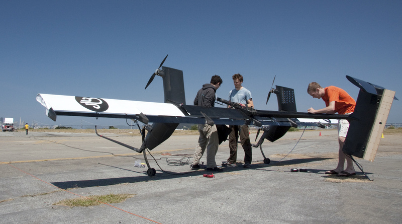 This May 24 photo provided by Makani Power shows flight team engineers preparing for the first crosswind test of their 20kW Wing 7 airborne wind turbine prototype in Alameda, Calif.