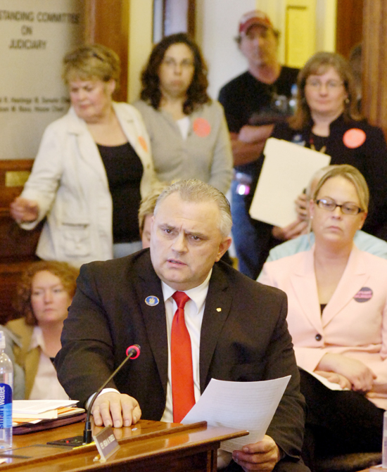 It was standing room only as Rep. Dale J. Crafts, R-Lisbon, introduces one of three abortion bills heard during a Judiciary Committee hearing today at the State House. His bill, LD 1457, seeks to repeal Maine's current adult consent law. It would require notarized written consent of a parent or legal guardian before an abortion may be performed on a minor, with some exceptions.
