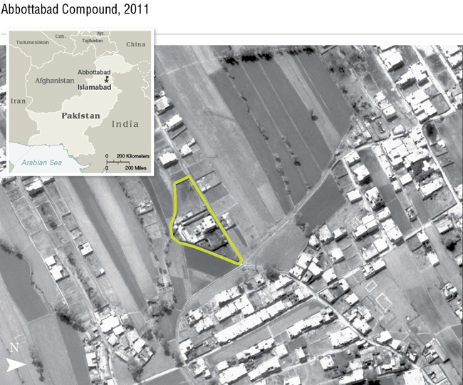 An aerial handout image provided by the CIA shows the Abbottabad compound in Pakistan where American forces killed Osama bin Laden.