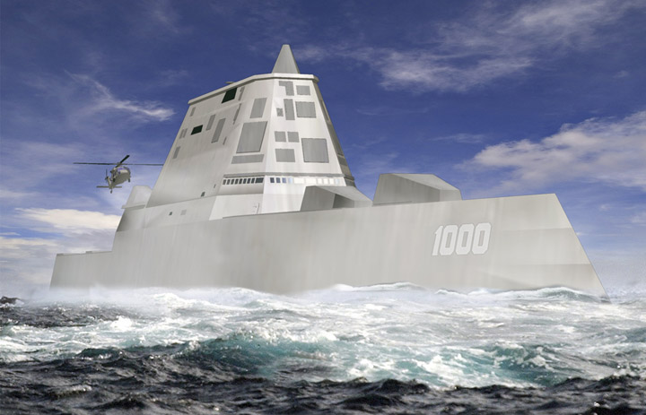 A rendering of the DDG-1000 Zumwalt, the U.S. Navy's next-generation destroyer, which has been funded to be built at Bath Iron Works.
