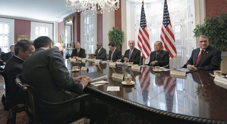 Vice President Joe Biden, far side, third from right, meets with congressional Republicans and Democrats in Washington earlier this month in hopes of striking a deal on deficit reduction. It seems that Congress is becoming intractable and determined not to act unless there is a crisis.