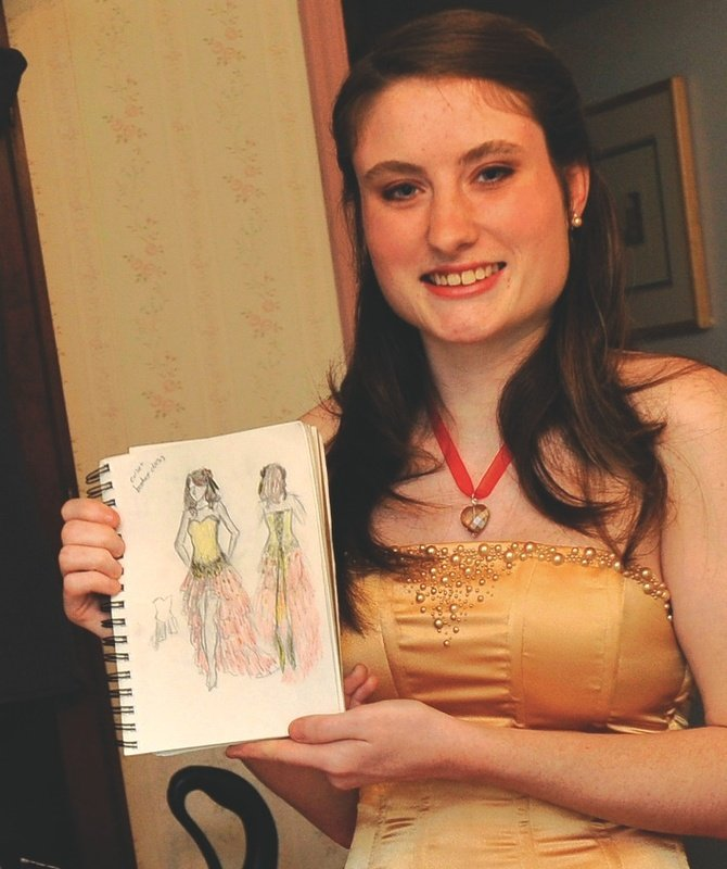 Maryland 18-year-old Michelle McGinn took two weeks to create her dress, which she wore to her senior prom recently.
