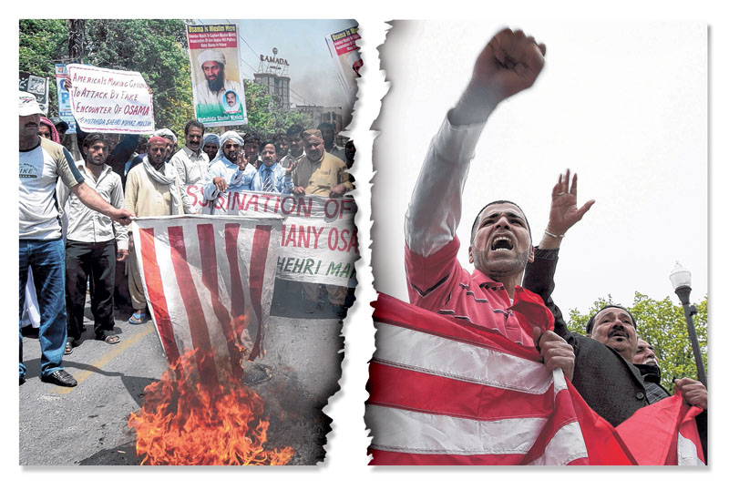 """YES: In photo at left, Pakistani protesters burn a representation of a U.S. flag during a rally Wednesday in Multan, Pakistan, to condemn the killing of al-Qaida leader Osama bin Laden. Pakistan criticized the American raid as an """"unauthorized unilateral action,"""" laying bare the strains the operation has put on an already rocky alliance. NO: In photo at right, Dave Alwatan, left, and Ajmy Alsaidi rally in support of the United States in Dearborn, Mich., on Monday. They were reacting to news that Osama bin Laden, the face of global terrorism, was tracked down and killed in Pakistan by an elite team of U.S. forces. Terrorist threats can only grow nastier if our alliance with Pakistan crumbles."""
