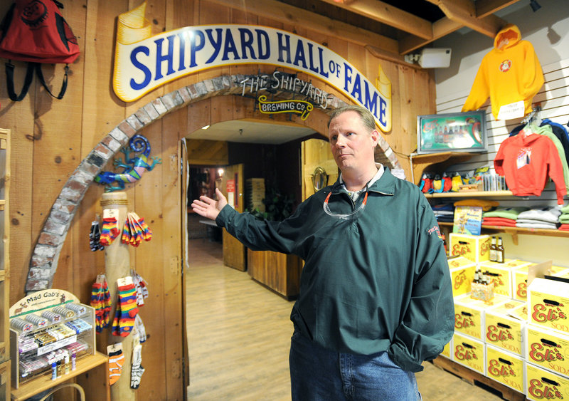Trade brewer Bruce Elam leads a tour of the Shipyard Brewing Co. in Portland. Shipyard made about 1,500 barrels of beer in 1991; it now makes about 98,000 barrels a year.