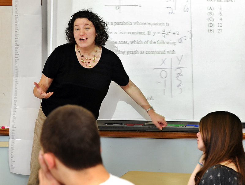 Jessica Kaplan, an SAT prep teacher at South Portland High, say students who take her class show an average improvement of 170 points the second time. The one-semester class teaches strategies and provides practice time.