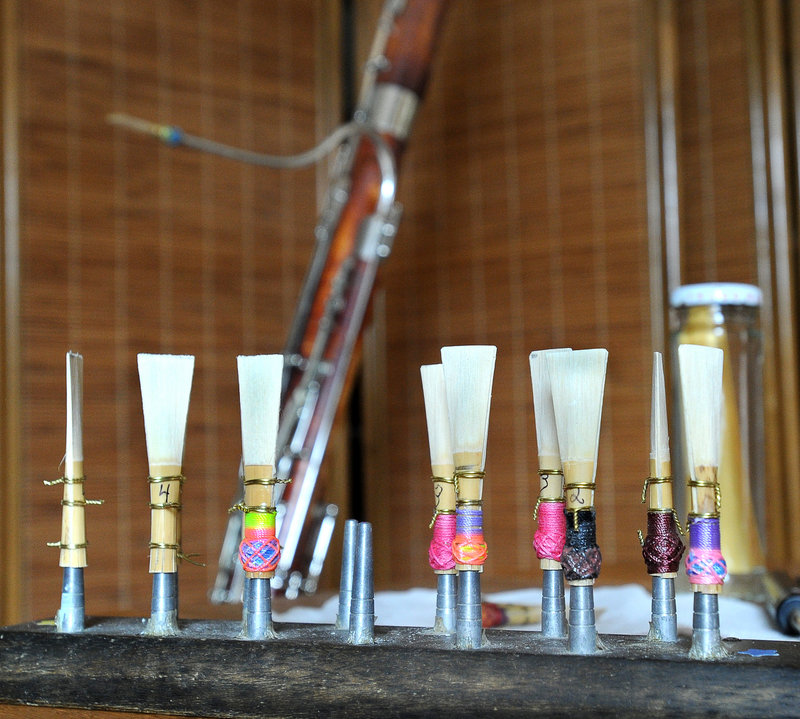 Polk, who lives in Nottingham, N.H., and commutes to rehearsals and concerts with the PSO, fashions her own reeds for her instrument.