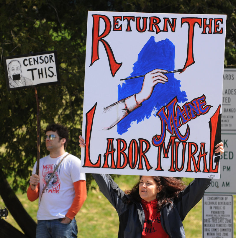 Demonstrators in Bangor demand the return of the labor mural in an April 19 protest.