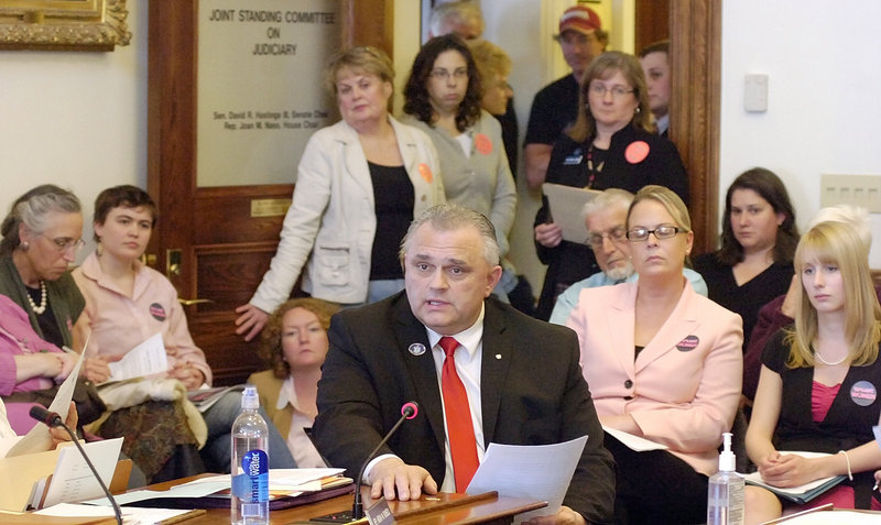 Rep. Dale J. Crafts, R-Lisbon, introduces L.D. 1457 at a Judiciary Committee hearing Tuesday. His bill would require notarized written consent of a parent or legal guardian for abortions for minors, with some exceptions.