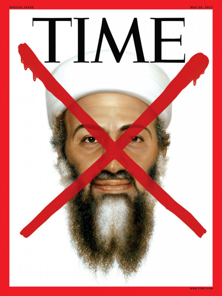 """The Time magazine special issue set to hit newsstands Thursday will have the fourth cover in Time's history to feature the red """"X."""" Others showed Adolf Hitler on May 7, 1945, Saddam Hussein on April 21, 2003, and Abu Musab al-Zarqawi on June 19, 2006."""